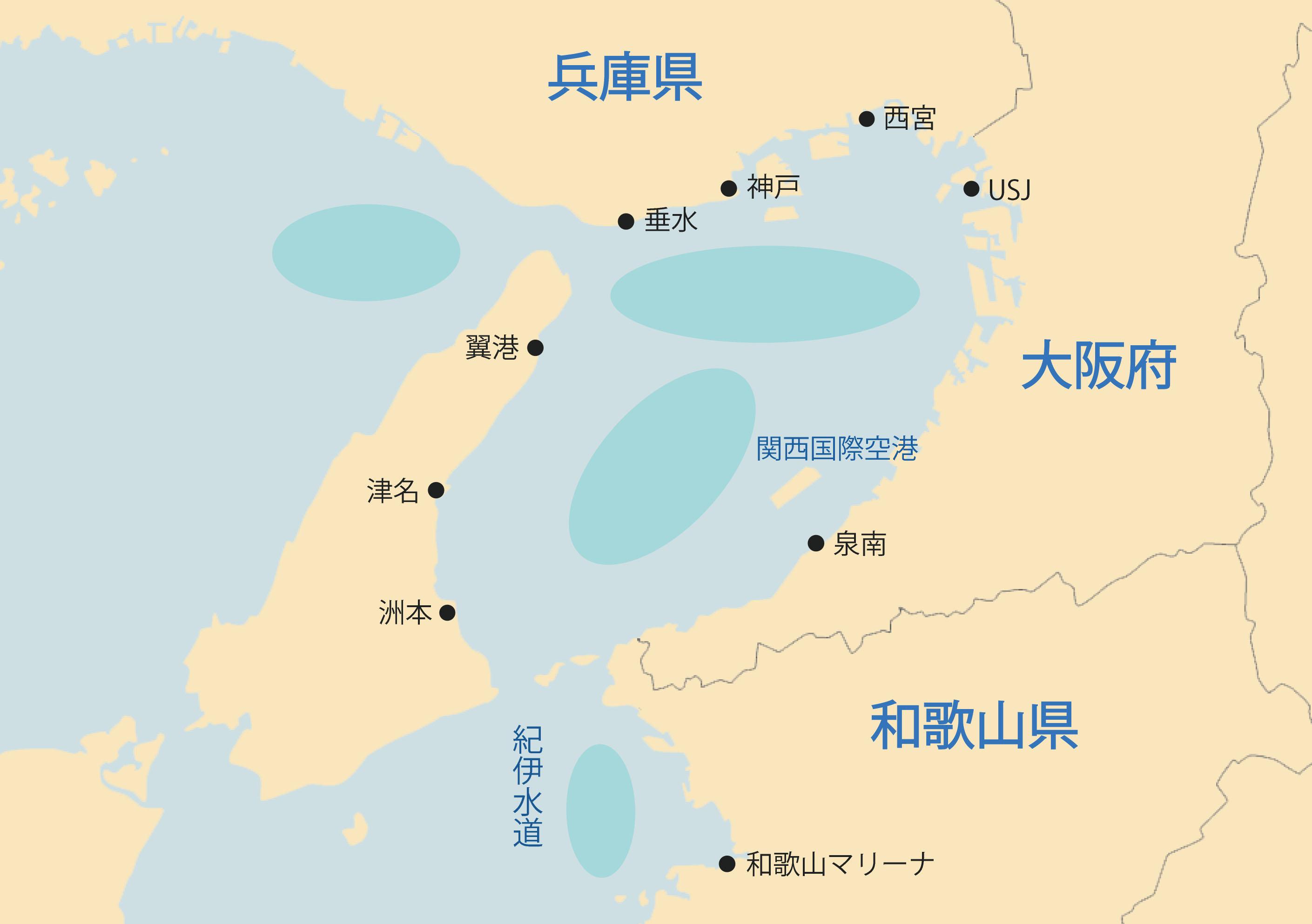 散骨 関西「Aクルーズ」の散骨海域地図