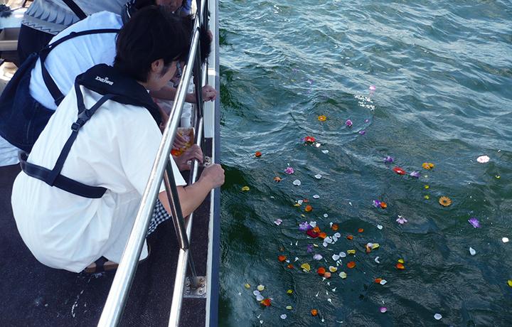 神戸沖での海洋散骨